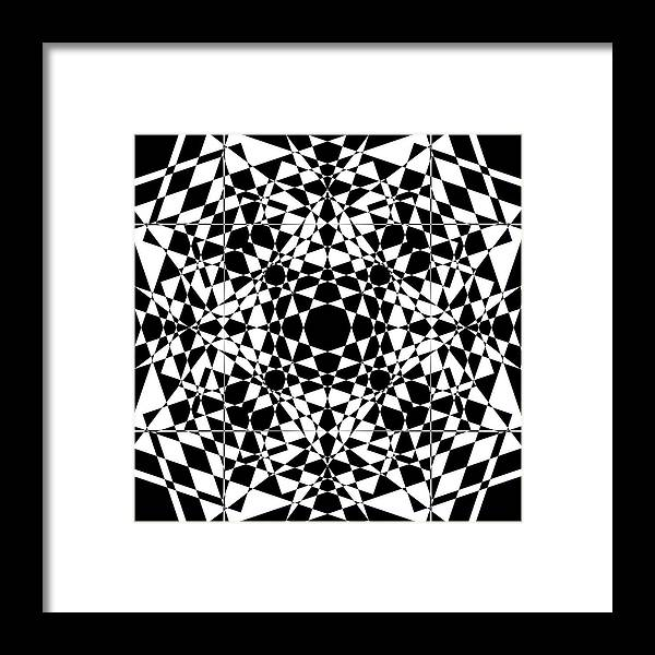 Abstract Framed Print featuring the digital art B W Sq 2 by Mike McGlothlen