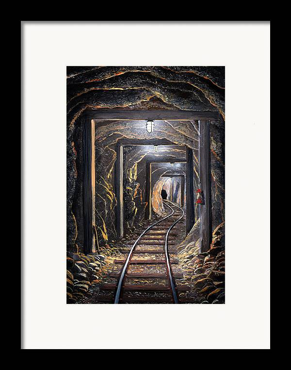 Mural Framed Print featuring the painting Mine Shaft Mural by Frank Wilson