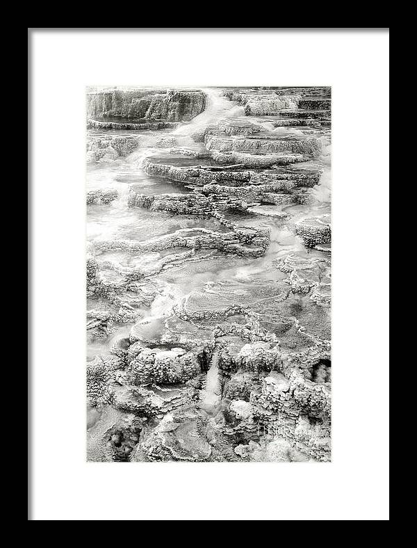 America Framed Print featuring the photograph Minerva Springs In Black And White Yellowstone National Park Wyoming by Dave Welling