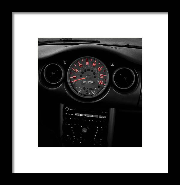 Cooper Framed Print featuring the photograph Mini-cooper Dash Gauges by Nicole Berna