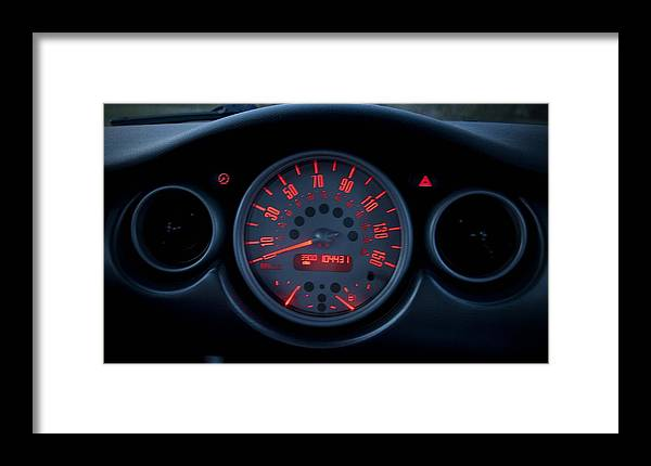 Mini-cooper Framed Print featuring the photograph Mini-cooper Dashboard Gauges by Nicole Berna