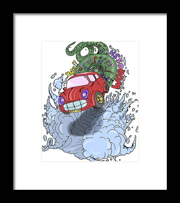 This Is An Original Art Sketch Of Our Fantasy Teams. We Used To Make Designs On Paper With A Pencil Drawing Which Is Then Processed In Our Digital Software. This Image Is Very Detailed And Focused.we Hope You Like All Of Our Designs. Happy Shopping. Thank You. Framed Print featuring the digital art Mini Cooper by Murni Ch