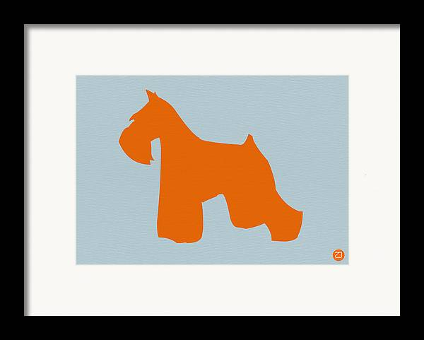 Miniature Schnauzer Framed Print featuring the digital art Miniature Schnauzer Orange by Naxart Studio