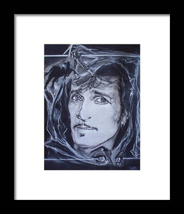 Charcoal;mink Deville;new York City;gina Lollabrigida Eyes ;cat Eyes;bullfight;toreador;swords;death;smoke;blues Framed Print featuring the drawing Willy Deville - Coup De Grace by Sean Connolly