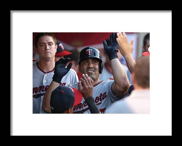 Second Inning Framed Print featuring the photograph Minnesota Twins V Los Angeles Angels Of by Stephen Dunn