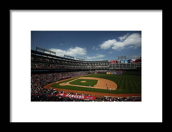 American League Baseball Framed Print featuring the photograph Minnesota Twins V Texas Rangers by Tom Pennington