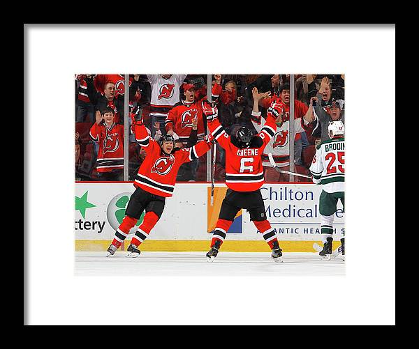 National Hockey League Framed Print featuring the photograph Minnesota Wild V New Jersey Devils by Jim Mcisaac