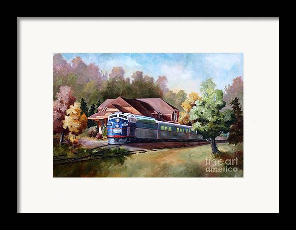 Train Fall train Painting Station Building Structure Minnesota train Station Oil Painting Original Framed Print featuring the painting Minnesota Zephyr by Brenda Thour