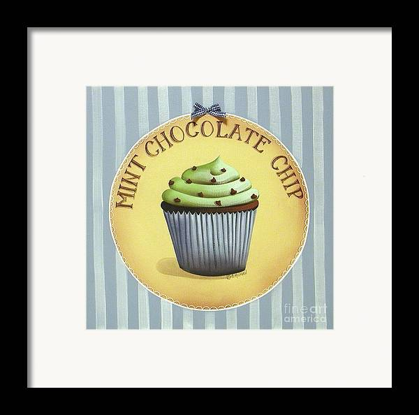 Art Framed Print featuring the painting Mint Chocolate Chip Cupcake by Catherine Holman
