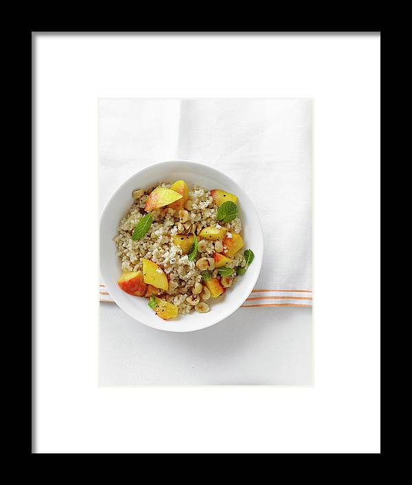 Temptation Framed Print featuring the photograph Minted Bulgur And Peach Salad by Iain Bagwell