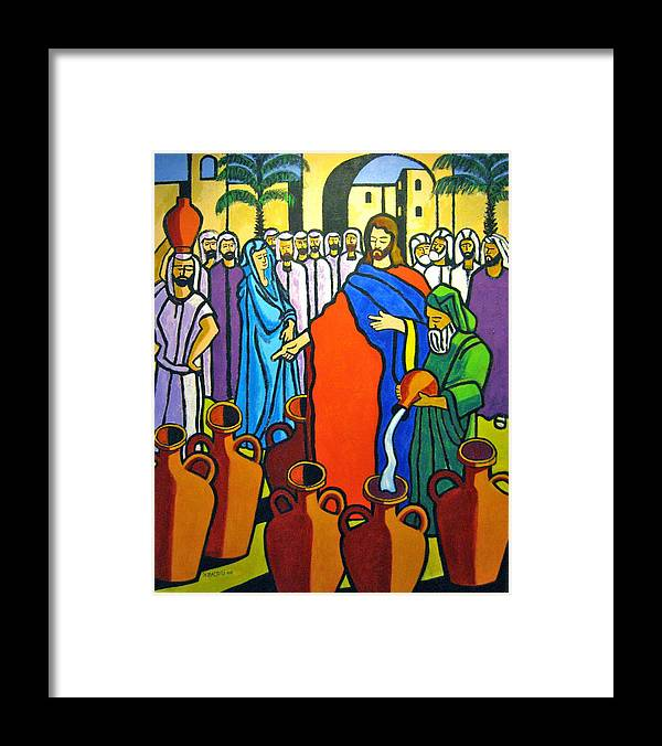 Religious Framed Print featuring the painting Miracle At Cana by Nicholas Martori