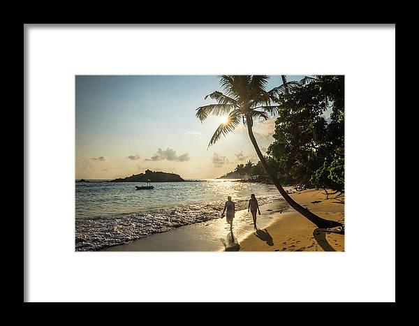 Shadow Framed Print featuring the photograph Mirissa Beach, Couple Taking A Romantic by Matthew Williams-ellis / Robertharding