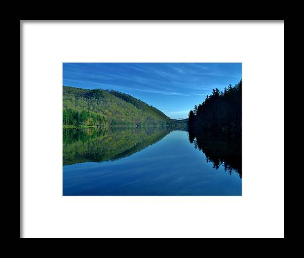 Framed Print featuring the photograph Mirrored In The Lake by Hominy Valley Photography