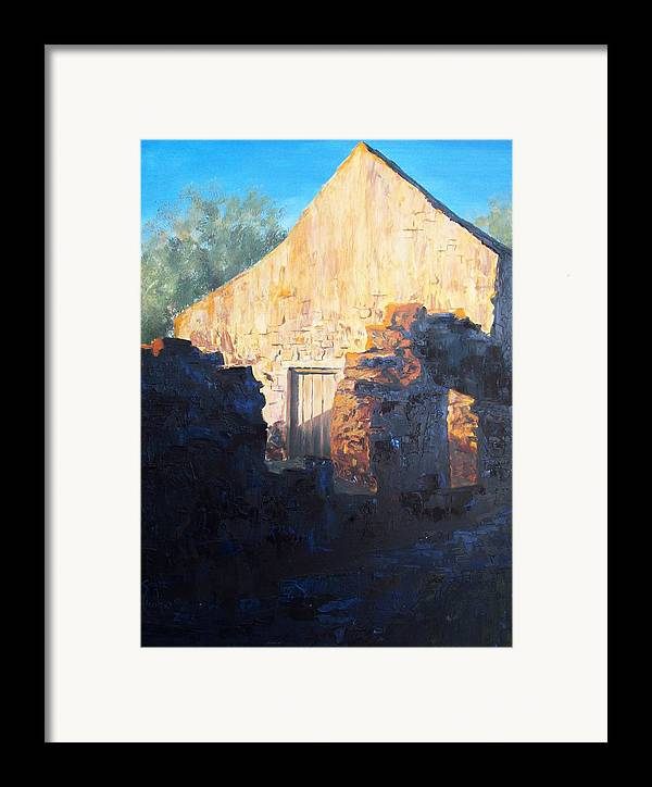 Mission Framed Print featuring the painting Mission At Sunset by Scott Alcorn