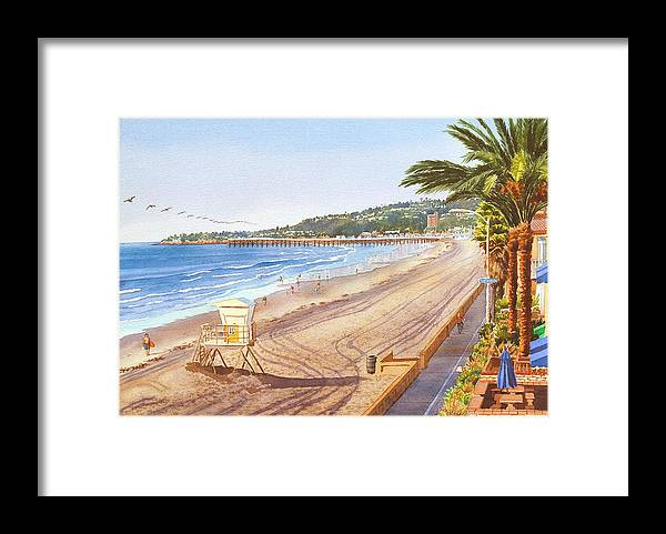 Mission Beach Framed Print featuring the painting Mission Beach San Diego by Mary Helmreich
