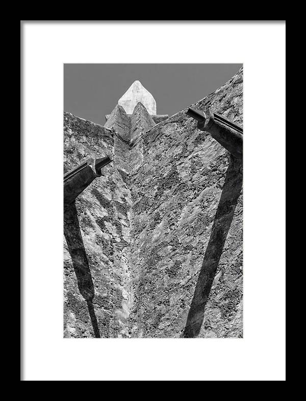 Stone Wall Framed Print featuring the photograph Mission Concepcion Drains Bw by Alan Tonnesen