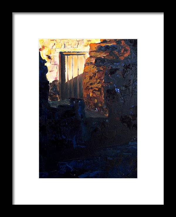 Mission Framed Print featuring the painting Mission Door At Sunset by Scott Alcorn