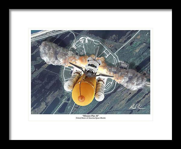 Space Shuttle Framed Print featuring the painting Mission Plus 10 by Mark Karvon