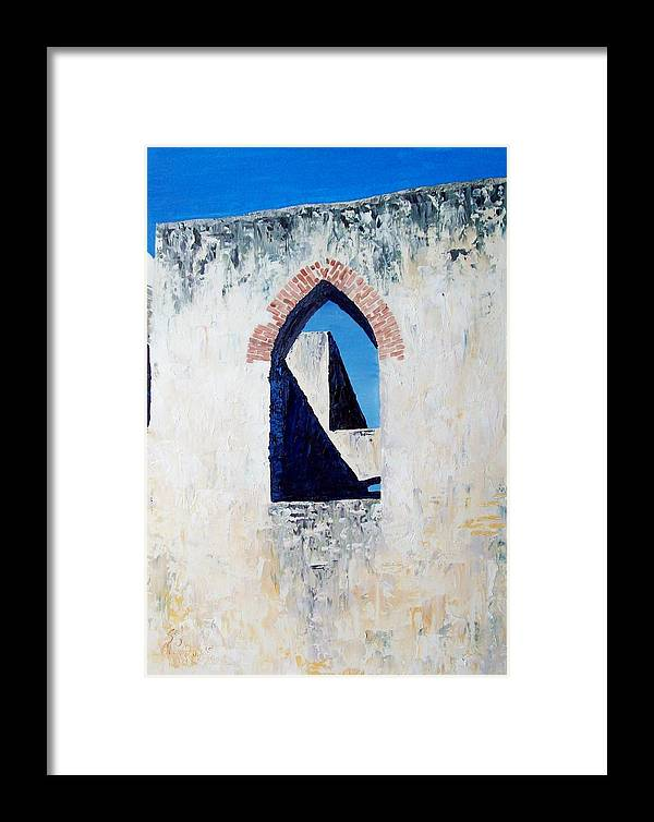 Mission Framed Print featuring the painting Mission Window by Scott Alcorn