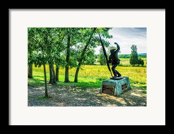 Grand Framed Print featuring the digital art Mississippi Memorial Gettysburg Battleground by Bob and Nadine Johnston