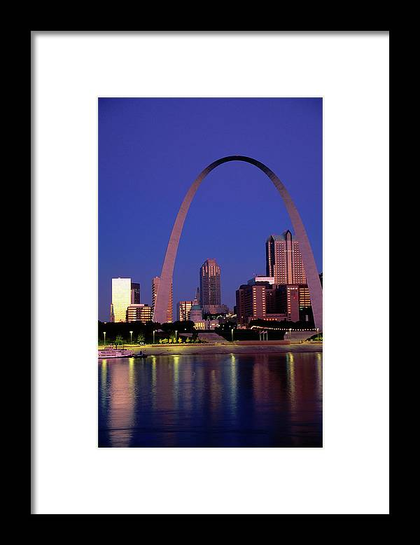 Arch Framed Print featuring the photograph Mississippi River And Gateway Arch At by John Elk