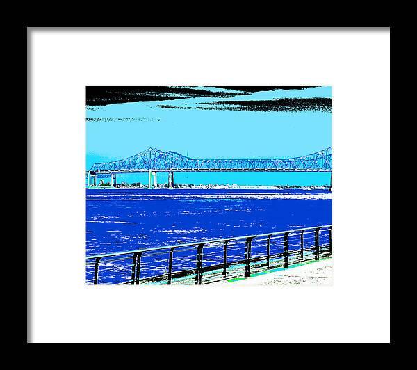 Mississippi River Framed Print featuring the digital art Mississippi River Bridge Poster by Alys Caviness-Gober