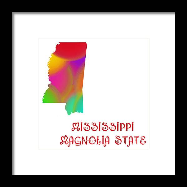 Andee Design Framed Print featuring the digital art Mississippi State Map Collection 2 by Andee Design