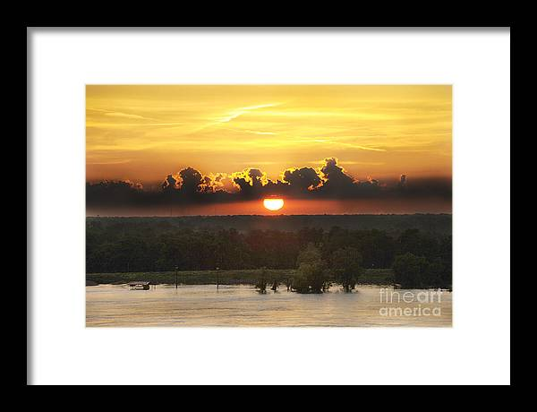 Sunset On The River Framed Print featuring the photograph Mississippi Sunset by Leon Hollins III