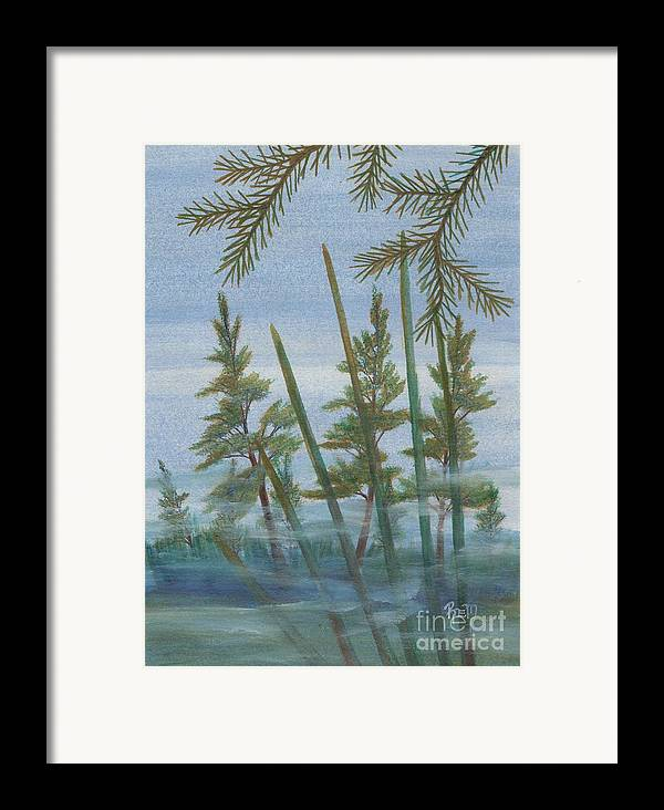 Landscape Framed Print featuring the painting Mist In The Marsh by Robert Meszaros