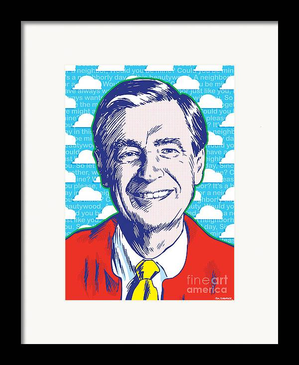 Art Framed Print featuring the drawing Mister Rogers Pop Art by Jim Zahniser