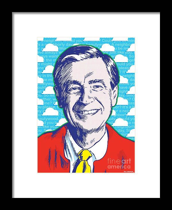 Art Framed Print featuring the digital art Mister Rogers Pop Art by Jim Zahniser