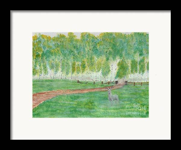 Landscape Framed Print featuring the painting Mist's Guardian by Robert Meszaros