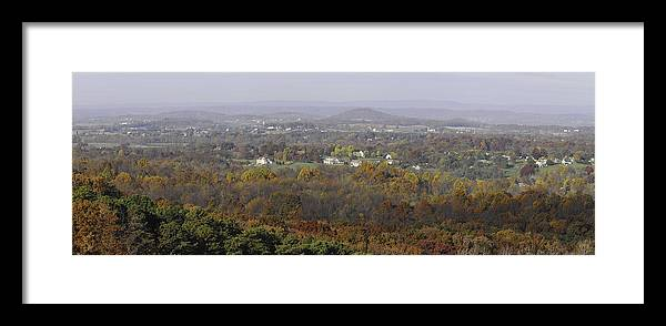 Pano Framed Print featuring the photograph Misty Fall Pano Of The Shenandoah Valley by Lynn Bauer