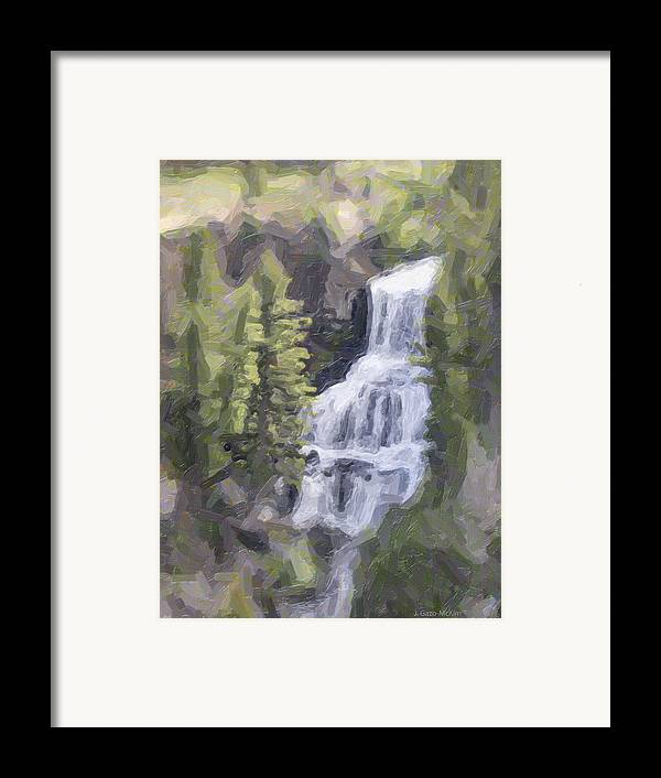 Falls Framed Print featuring the digital art Misty Falls by Jo-Anne Gazo-McKim