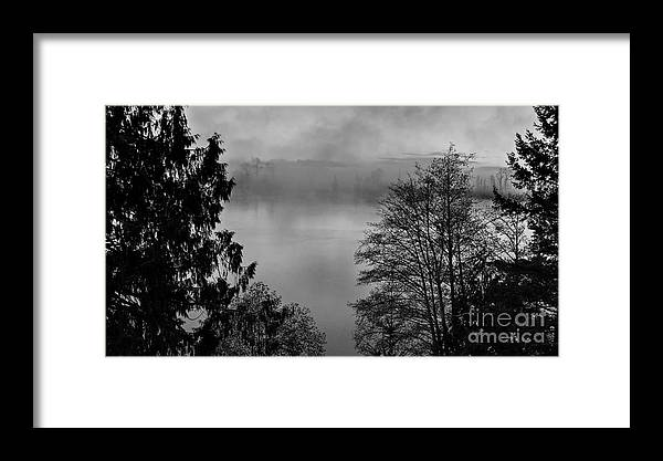 America Framed Print featuring the photograph Misty Morning Sunrise Black And White Art Prints by Valerie Garner