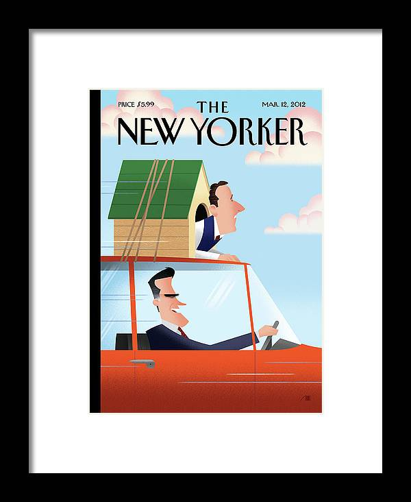 Election Framed Print featuring the painting Mitt Romney Driving With Rick Santorum In A Dog by Bob Staake