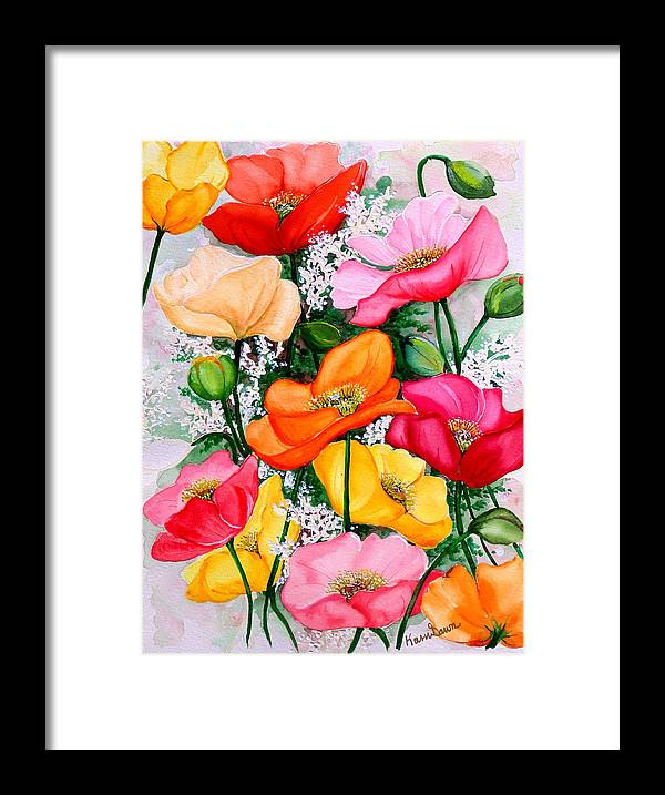 Poppies Framed Print featuring the painting Mixed Poppies by Karin Dawn Kelshall- Best