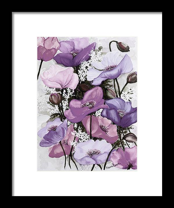 Purple Framed Print featuring the painting Mixed Poppies Purple by Karin Dawn Kelshall- Best