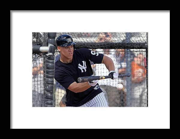 American League Baseball Framed Print featuring the photograph MLB: FEB 20 Spring Training - Yankees Workout by Icon Sportswire