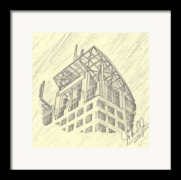 Buildings Framed Print featuring the drawing Mobile Courthouse by John Jones