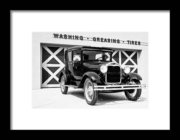 B&w Framed Print featuring the photograph Model A Black And White by Lawrence Burry