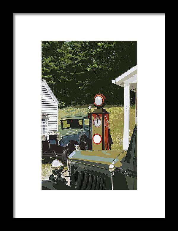 Model A Ford Framed Print featuring the photograph Model A Ford And Old Gas Station Illustration by Keith Webber Jr