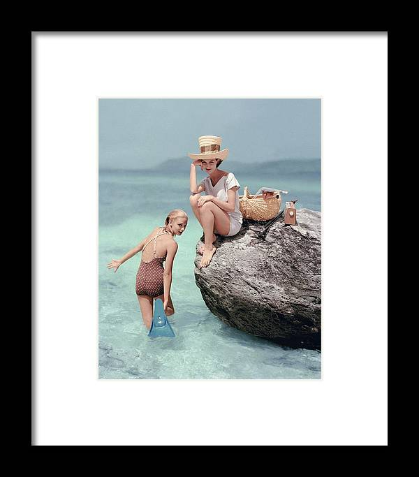 Fashion Framed Print featuring the photograph Models At A Beach by Richard Rutledge