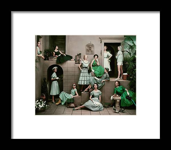 Accessories Framed Print featuring the photograph Models In Various Green Dresses by Frances Mclaughlin-Gill