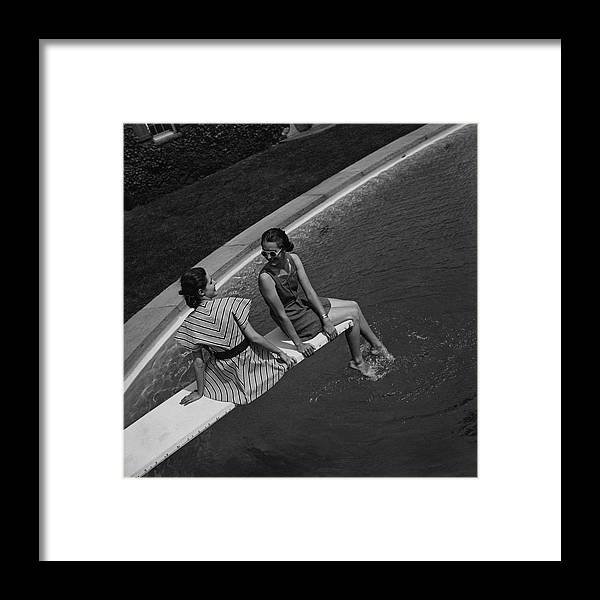 Beauty Framed Print featuring the photograph Models On A Diving Board by Toni Frissell
