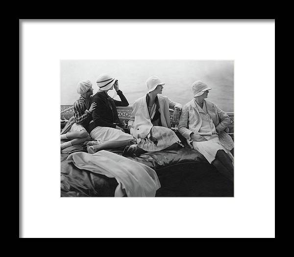 Accessories Framed Print featuring the photograph Models On A Yacht by Edward Steichen