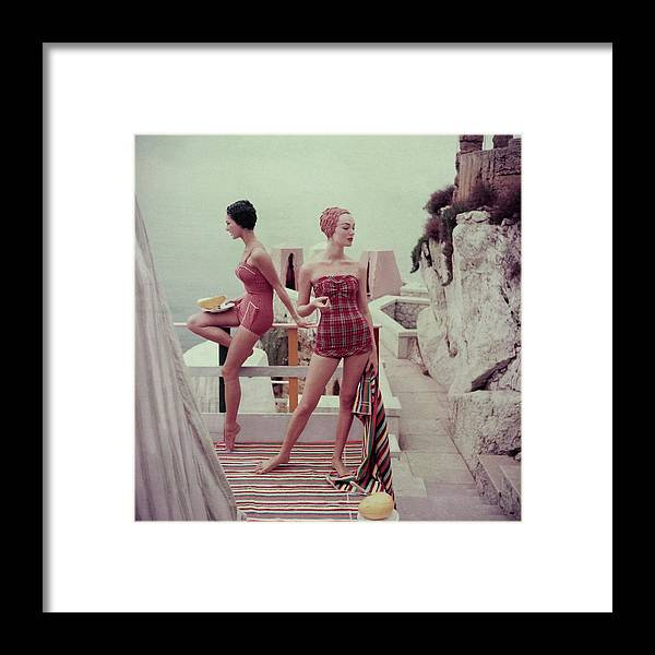 Fashion Framed Print featuring the photograph Models Wearing Bathing Suits In Palermo by Henry Clarke