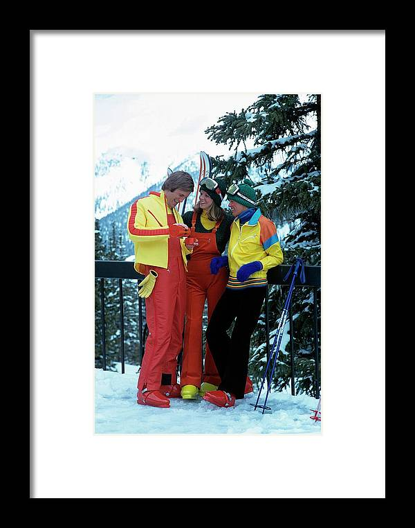 Fashion Framed Print featuring the photograph Models Wearing Ski Clothes by William Connors