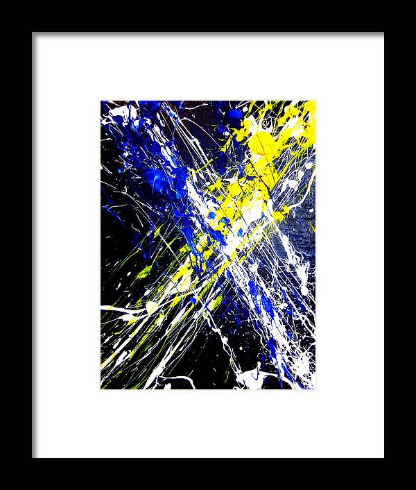 Art Framed Print featuring the painting Modern Abstract Painting Original Canvas Art Atoms By Zee Clark by Zee Clark
