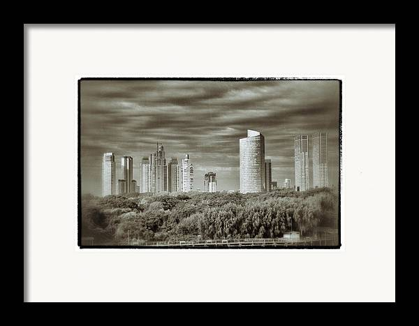 Buenos Aires Framed Print featuring the relief Modern Buenos Aires Black And White by For Ninety One Days